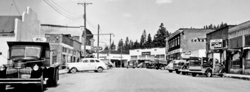 history: Main street Chiloquin in the 1940's.