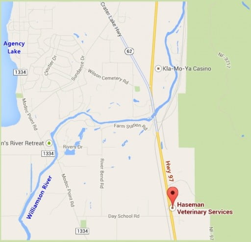Map to Haseman Vet, Chiloquin