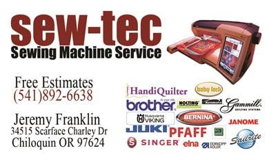 Sew-tec sewing machine service logo