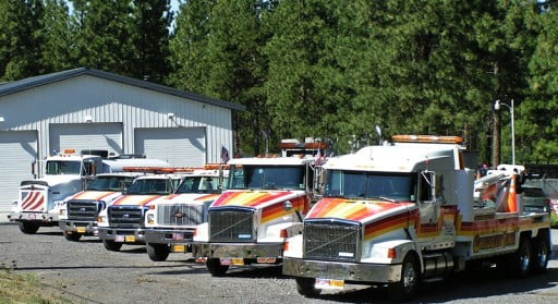 Chiloquin Towing partial lineup of trucks