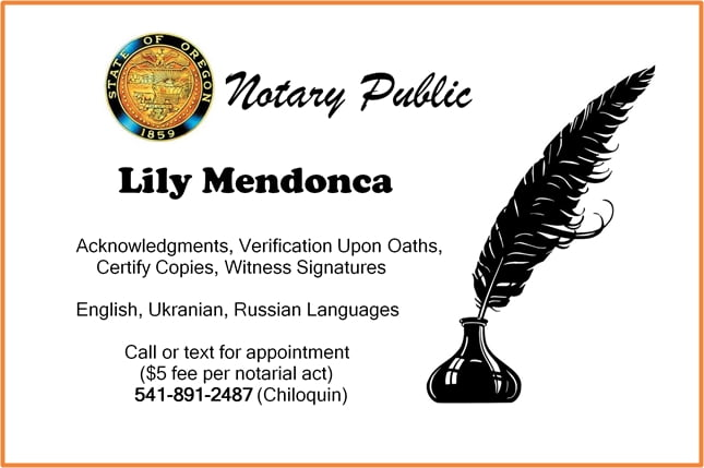 Lily Mendonca, notary public, Chiloquin, Oregon