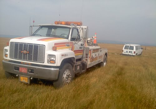 Chiloquin Towing: stuck in soft grass and mud